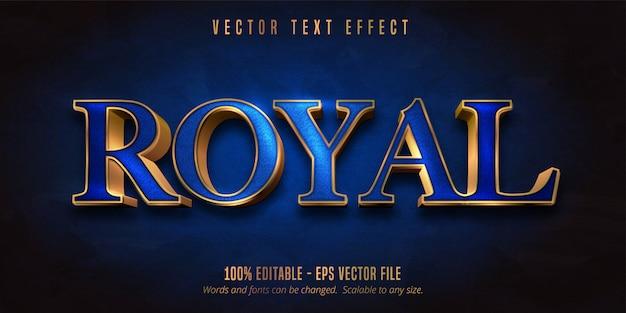 Tekst Royal, Niebieski Kolor I Błyszczący Edytowalny Tekst W Złotym Stylu Premium Wektorów
