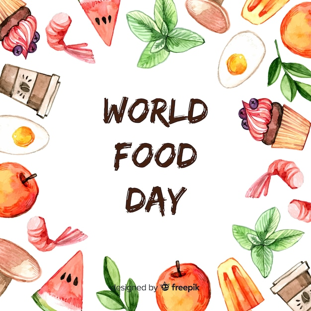 Tekst światowego dnia żywności otoczony żywnością Darmowych Wektorów