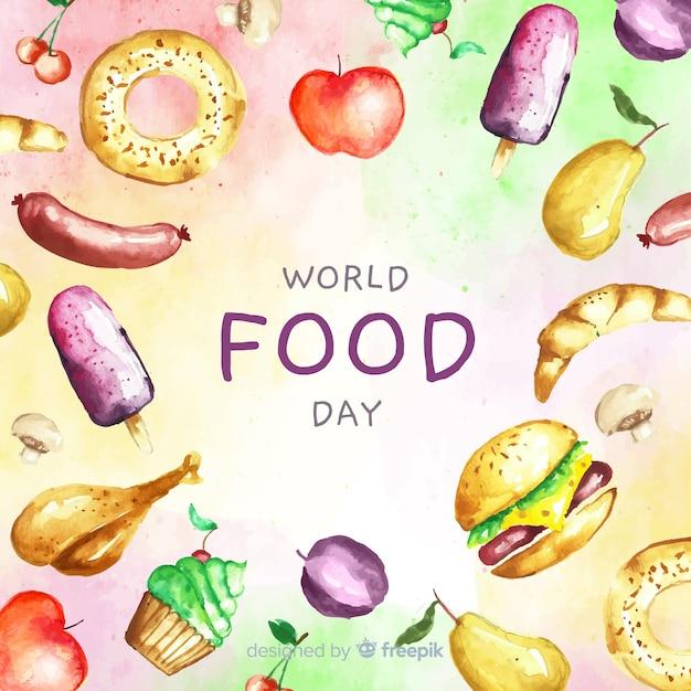 Tekst światowego dnia żywności z żywnością Darmowych Wektorów