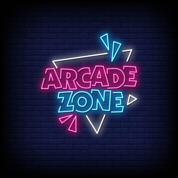 Tekst W Stylu Arcade Zone Neon Signs Premium Wektorów