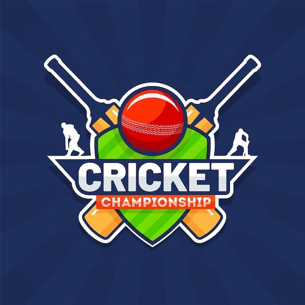 Tekst w stylu naklejek cricket championship ze sprzętem do krykieta Premium Wektorów
