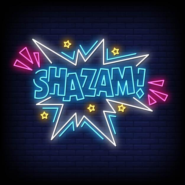 Tekst W Stylu Shazam Neony Premium Wektorów