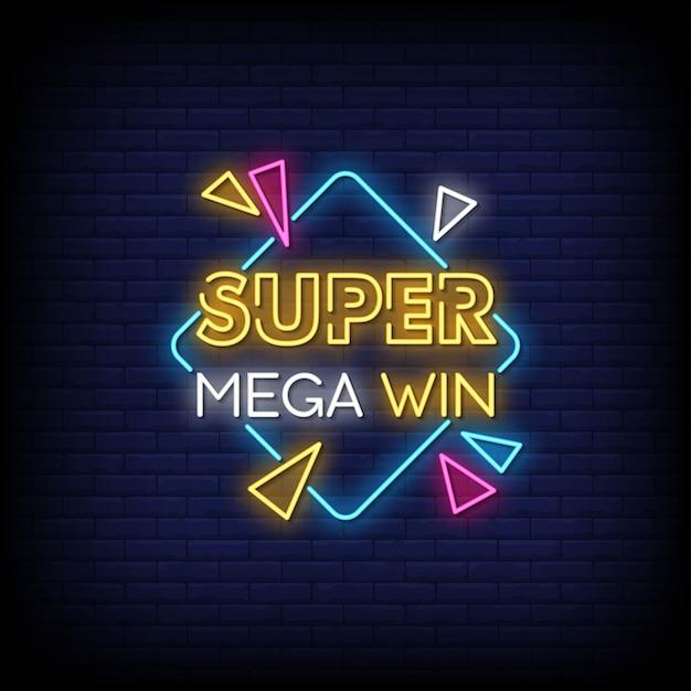 Tekst W Stylu Super Mega Win Neon Signs Premium Wektorów