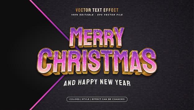 Tekst Wesołych świąt Elegancki, żywy Styl Tekstu Z Wytłoczonym Efektem W Koncepcji Fioletowo-złotej Premium Wektorów