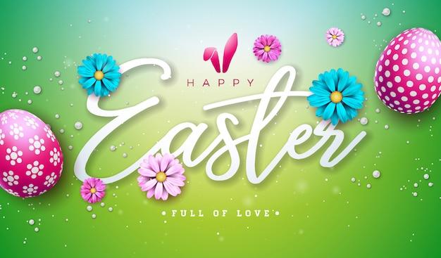 Tekst Wielkanocny. Szablon Kwiatowy Wzór Z Listem Typografii Darmowych Wektorów