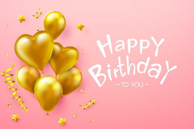 Tekst Z Okazji Urodzin Kaligrafii Z Złoty Balon Premium Wektorów