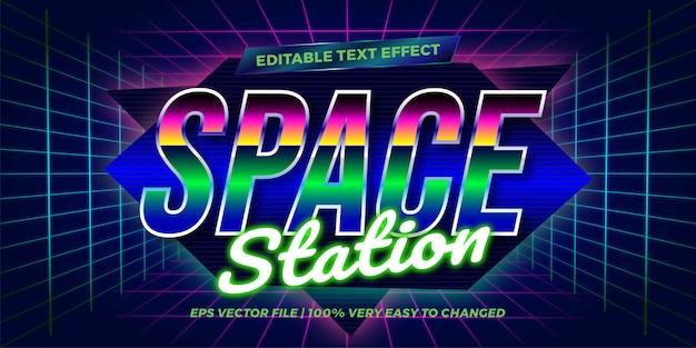 Tekstowy Skutek W Neonowym Retro Stacyjnych Słowach Teksta Skutka Tematu Edytorski Retro 80s Pojęcie Premium Wektorów