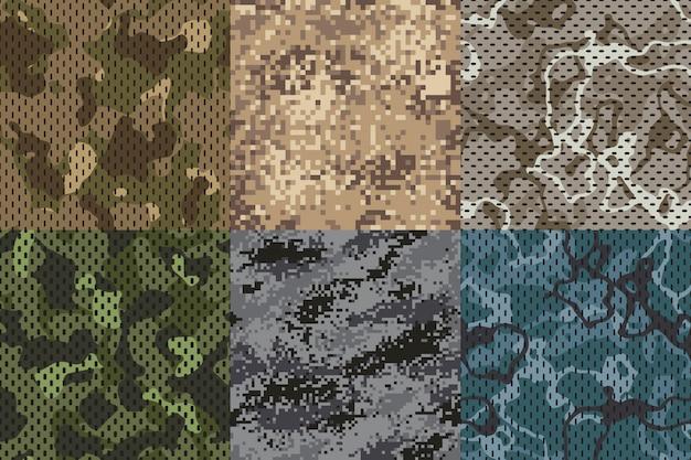 Tekstura Kamuflażu Khaki. Zestaw Armii Bez Szwu Lasu I Piasku Kamuflaż Siatki Wzór Tekstury Zestaw Premium Wektorów