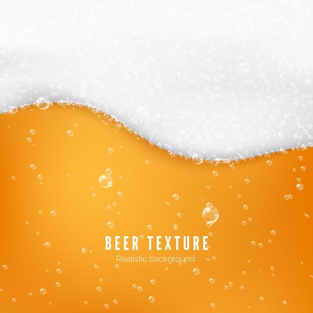 Tekstura Koloru Piwa Z Bąbelkami I Białą Pianą. Baner Przepływu świeżego Zimnego Piwa. Ilustracja Premium Wektorów