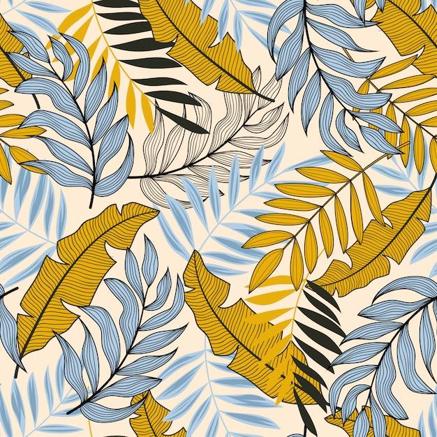 Tekstura wektor bez szwu tropikalny wzór z kolorowych roślin i liści Premium Wektorów