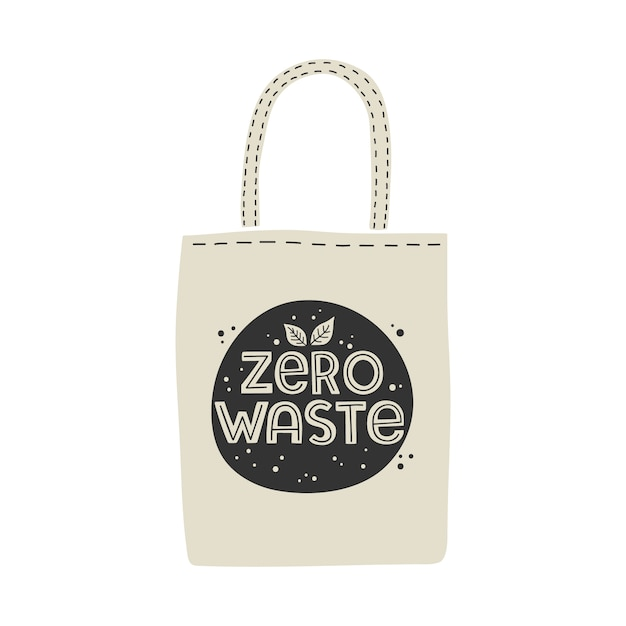 Tekstylna Ekologiczna Torba Na Zakupy Wielokrotnego Użytku Z Napisem Zero Waste. Premium Wektorów