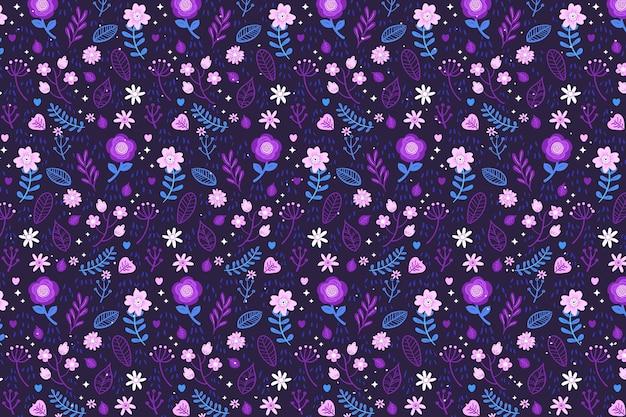 Tekstylne Tkaniny Ditsy Kwiaty Tło W Odcieniach Fioletu Darmowych Wektorów