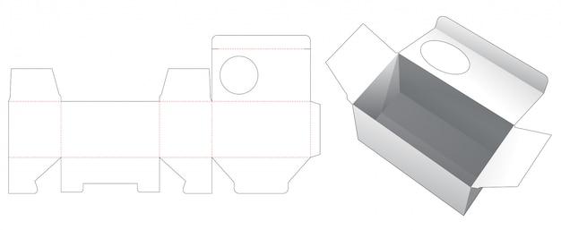 Tekturowe Pudełko Z Wykrojonym Szablonem Okna W Kształcie Koła Premium Wektorów