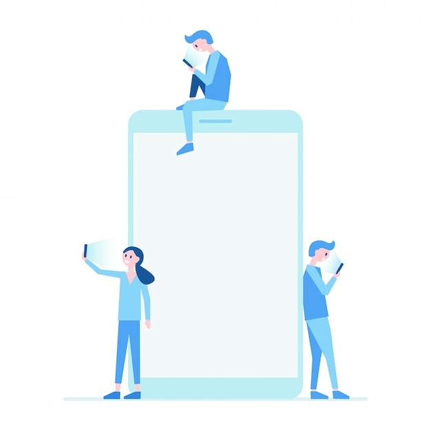 Telefon komórkowy i ludzie ustawić płaski ilustracja Premium Wektorów