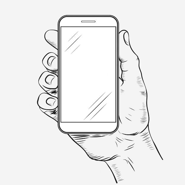 Telefon Komórkowy W Ręku Premium Wektorów