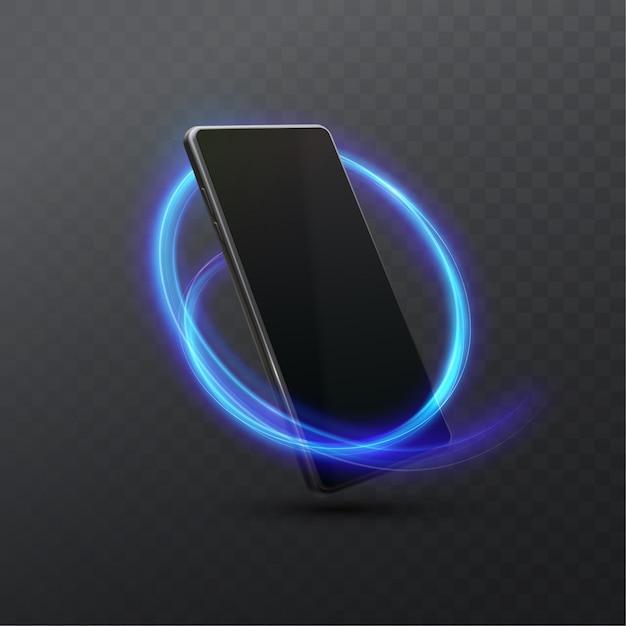 Telefon Komórkowy Z Neonowego światła śladem Odizolowywającym, Ilustracja Smartphone. Realistyczny Premium Wektorów