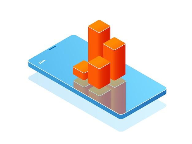 Telefon komórkowy z wykresem słupkowym na ekranie, aplikacja analityczna, baner z smartfonem Darmowych Wektorów