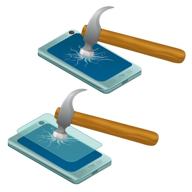 Telefon Komórkowy Zepsuty I Cały. Darmowych Wektorów