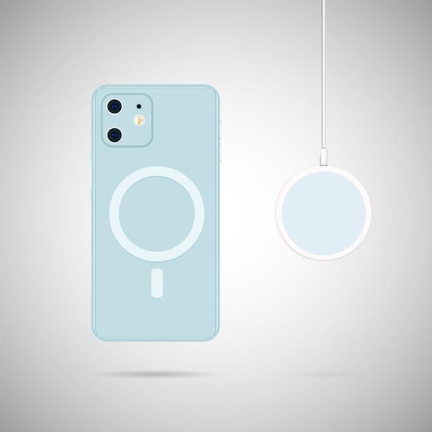 Telefon Z Bezprzewodową ładowarką Magsafe Premium Wektorów