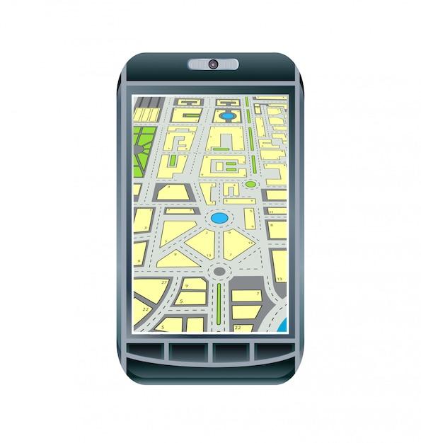 Telefon Z Mapą Premium Wektorów