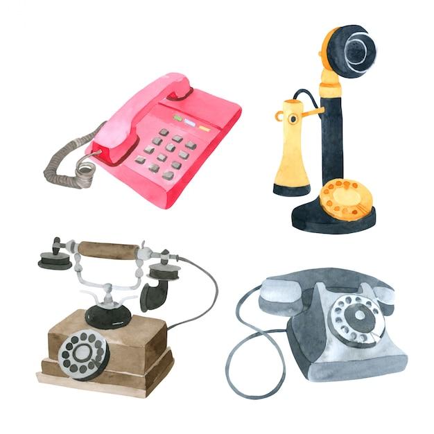 Telefoniczna akwareli kolekcja na białym tle Premium Wektorów
