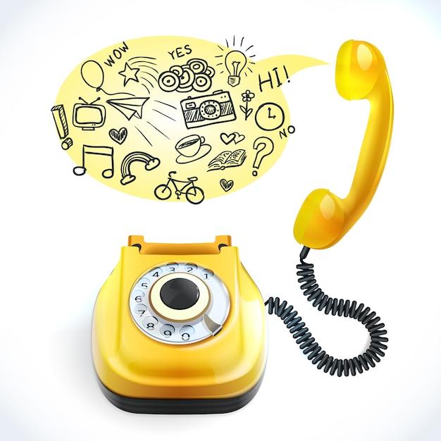 Telefoniczny stary doodle Darmowych Wektorów