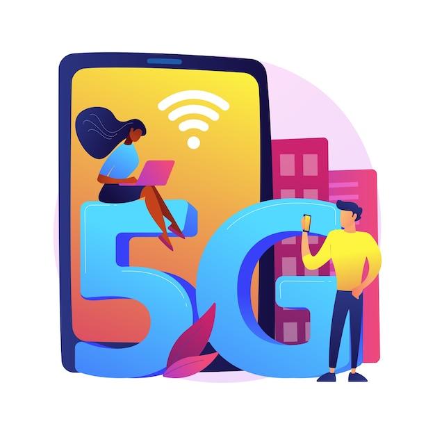 Telefony Komórkowe Ilustracja Koncepcja Streszczenie Sieci 5g. Komunikacja Przez Telefon Komórkowy, Nowoczesny Smartfon, Technologia 5g, Szybkie łącze Internetowe, Dostawca Zasięgu Sieci. Darmowych Wektorów
