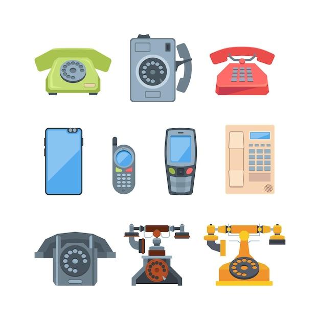 Telefony W Starym Stylu I Nowoczesne Gadżety Ilustracji Premium Wektorów