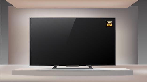 Telewizor Led 4k Nowej Generacji W Oświetlonym Studyjnym Tle Premium Wektorów