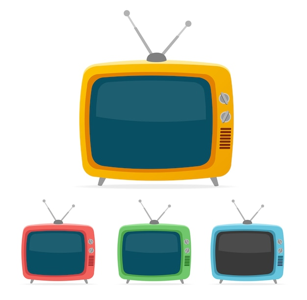 Telewizor Retro Kolor Na Białym Tle. Premium Wektorów
