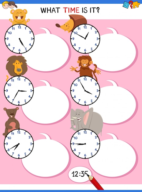Telling Time Educational Activity With Clock Face Premium Wektorów