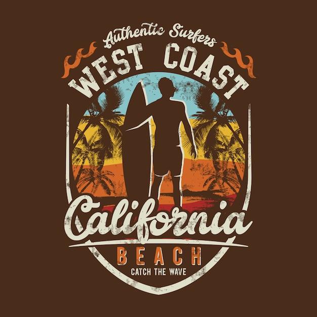 Tematy Surfowania, West Coast Beach, California Beach, Premium Wektorów