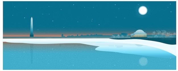 Tematyczny sztandar podróży do usa, waszyngton dc niebo zmierzchu w zimie. Premium Wektorów