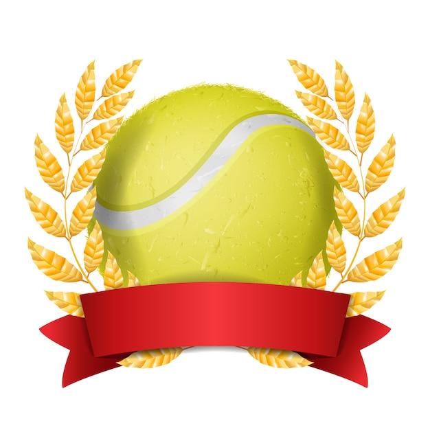 Tenisowa nagroda z tasiemkową ilustracją Premium Wektorów
