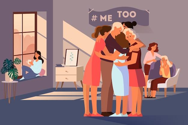Terapia Grupowa Dla Kobiet, Które Doświadczyły Przemocy I Nękania. Wsparcie Dla Młodych Kobiet. Ruch Me Too. Idea Opieki I Człowieczeństwa. Ilustracja Premium Wektorów