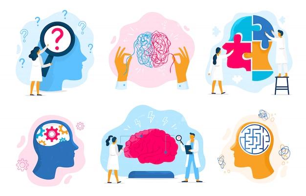 Terapia Zdrowia Psychicznego. Stan Emocjonalny, Mentalność Opieki Zdrowotnej I Terapii Medycznych Zapobieganie Problem Psychiczny Zestaw Ilustracji Premium Wektorów