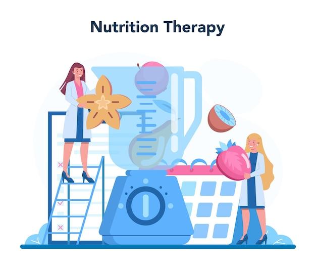 Terapia żywieniowa Zdrową żywnością Premium Wektorów