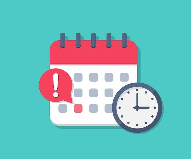Termin Kalendarza Z Zegarem W Płaskiej Konstrukcji Premium Wektorów