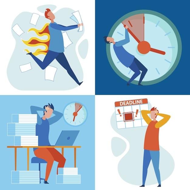 Termin Obciążenia, Stres Związany Z Pracą I Wypalenie Zawodowe Premium Wektorów