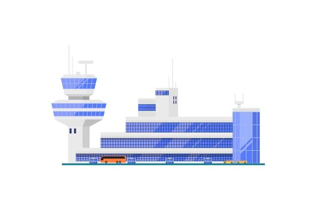 Terminal lotniska z wieżą kontroli lotów Premium Wektorów
