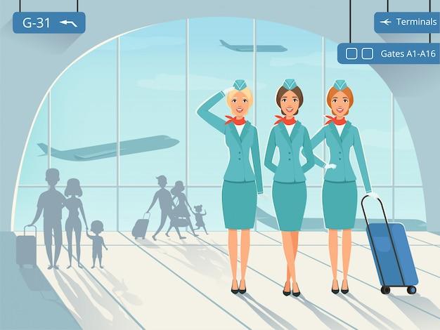 Terminal na lotnisku z postaciami stewardessy Premium Wektorów