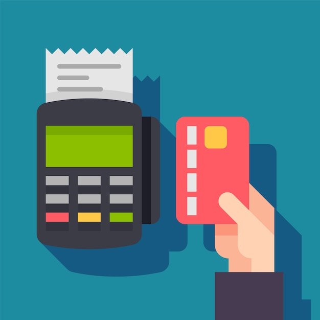 Terminal Płatniczy. Pos Dataphone Maszyny Z Kartą Kredytową Premium Wektorów