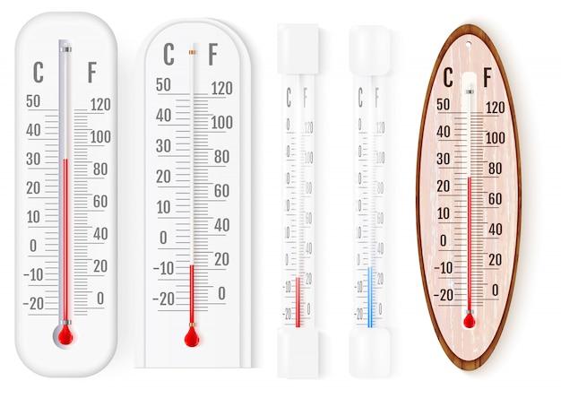 Termometry Zewnętrzne I Wewnętrzne Fahrenheita I Celsjusza Premium Wektorów