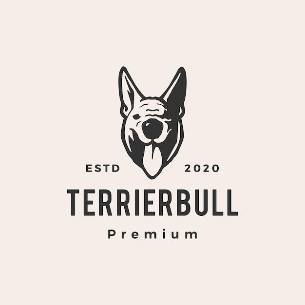 Terrier Byk Pies Hipster Vintage Logo Ikona Ilustracja Premium Wektorów