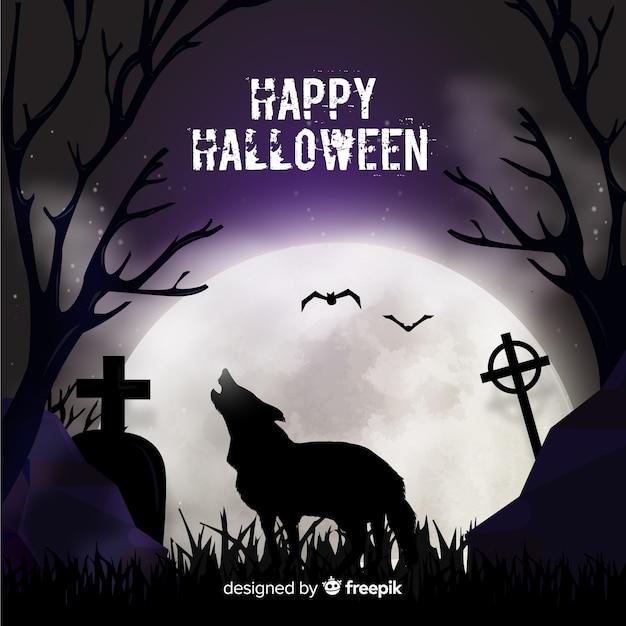Terrific Tło Halloween Z Płaska Konstrukcja Darmowych Wektorów
