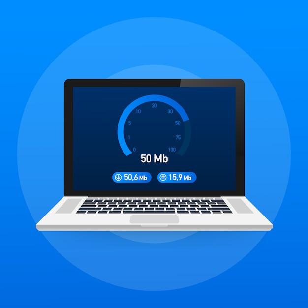 Test Prędkości Na Laptopie. Premium Wektorów