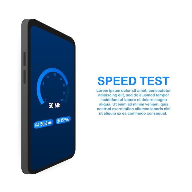 Test Prędkości Na Szablonie Smartfona Premium Wektorów