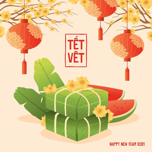 Têt Wietnamski Nowy Rok W Płaskiej Konstrukcji Darmowych Wektorów