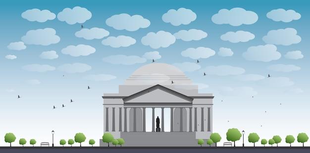 Thomas jefferson memorial w waszyngtonie, usa Premium Wektorów