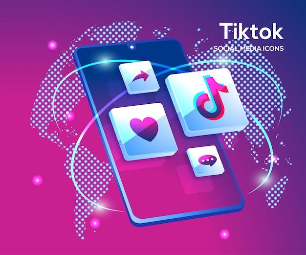 Tiktiok 3d Ikony Mediów Społecznościowych Z Symbolem Smartfona Premium Wektorów